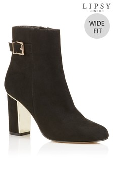 Lipsy Wide Fit Buckle Detail Block Heel Ankle Boots