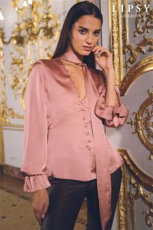 Lipsy Satin Button Pussybow Blouse