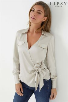 Lipsy Military Wrap Blouse