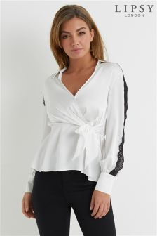 Lipsy Lace Trim Wrap Blouse
