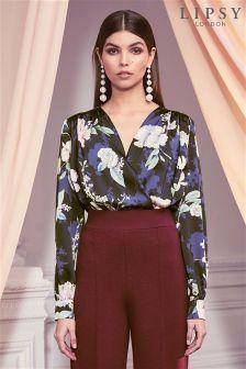 Lipsy Floral Print Wrap Bodysuit