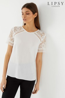 Lipsy Lace Short Sleeve Top