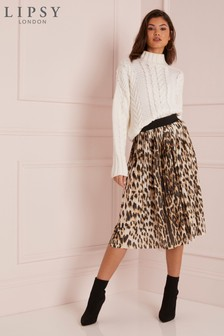 Lipsy Leopard Print Pleated Midi Skirt