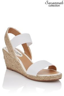 Savannah Collection Elastic Espadrille Wedges