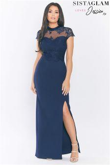 Sistaglam Loves Jessica Lace Insert Maxi Dress