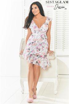 Sistaglam Loves Jessica V neck Frills Asymmetrical Hem Printed Dress