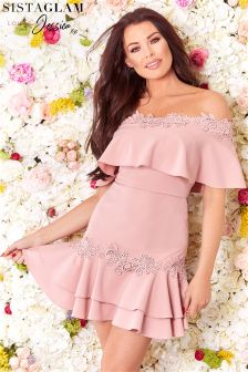Sistaglam Loves Jessica Bardot Frill Tiered Dress