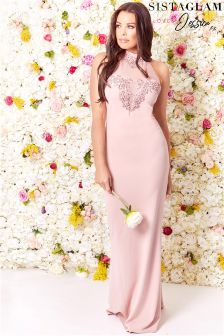 Sistaglam Loves Jessica VIP Embellished  Halterneck Maxi Dress