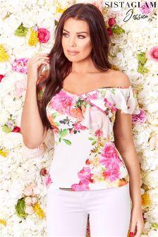 Sistaglam Loves Jessica Bardot Frill Floral Top