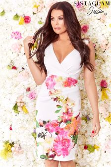 Sistaglam Loves Jessica Floral V neck Midi Dress