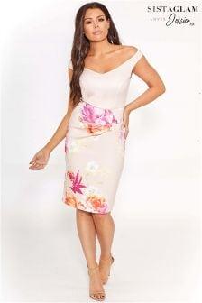 Sistaglam Loves Jessica Floral Bardot Bodycon Midi Dress