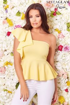 Sistaglam Loves Jessica One Shoulder Frill Top
