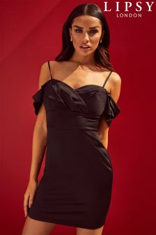 Lipsy Cold Shoulder Satin Bodycon Dress