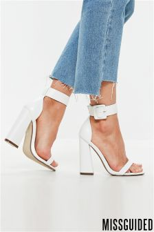 Missguided Two Strap Block Heel Sandal Large Buckle