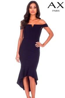 Dopasowana sukienka bardot AX Paris, krótsza z przodu i dłuższa z tyłu