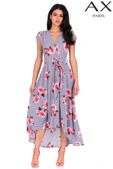 AX Paris Floral Print High-Low Wrap Dress