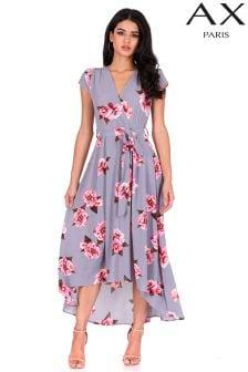 Платье с запахом, цветочным рисунком и асимметричным подолом AX Paris