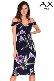 AX Paris Floral Print Bardot Bodycon Dress