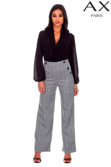 AX Paris Check High Waisted Wide Leg Trousers
