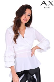AX Paris wrap ruffle sleeve blouse