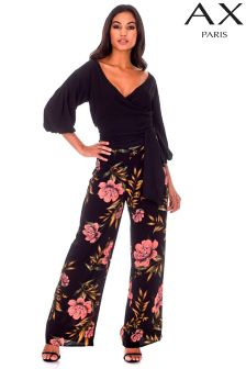 AX Paris Floral Print High Waisted Wide Leg Trousers