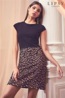 Lipsy Tall Leopard 2-in-1 A line Dress