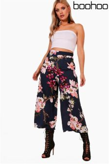 Boohoo Plus Floral Print Woven Trousers