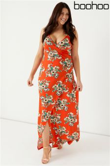 Boohoo Plus Wrap Front Maxi Dress