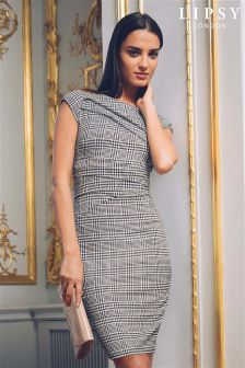 Lipsy Petite Check Pleated Zip Trim Bodycon Dress