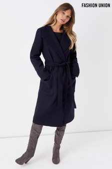 Fashion Union Funnel Neck Coat