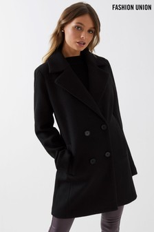 Fashion Union Double Breasted Crombie Coat