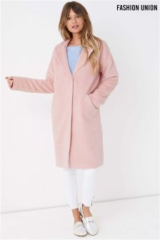 Fashion Union Notch Neck Crombie Coat