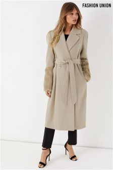 Fashion Union Hybrid Trench With Faux Fur Sleeves