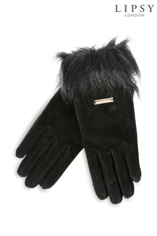 Lipsy Suede Faux Fur Smart Touch Gloves