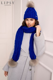 Lipsy Cable Pom Scarf