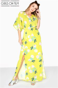 Girls On Film Printed Pebble Crepe Maxi Dress