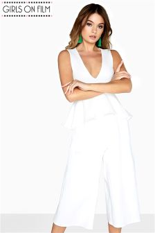 Girls On Film Ribbed Flared Waist Jumpsuit