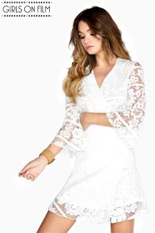 Girls On Film Lace Wrap Dress