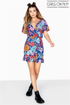 Girls On Film Printed Pebble Crepe Dress