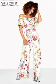 Girls On Film Printed Slinky Wide Leg Jumpsuit