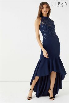 Lipsy Sequin Halter High Low Maxi Dress
