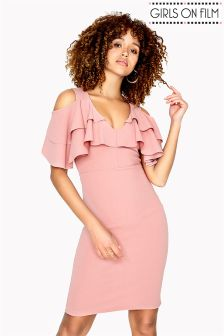 Girls on Film Frill Scuba Crepe Bodycon Dress