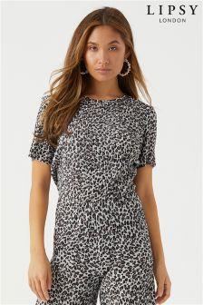 Lipsy Leopard Print Short Sleeve Plisse Top