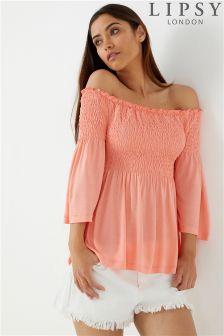 Lipsy Long Sleeve Bardot Shirring Top