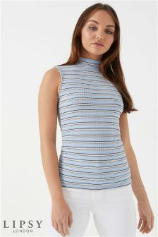 Lipsy Stripe Rib Turtle Neck Vest