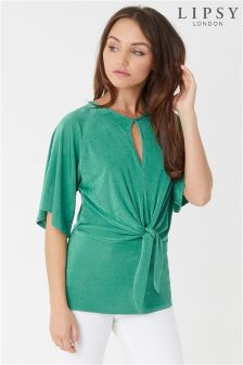 Lipsy Short Sleeve Knot Front Top