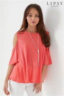 Lipsy Cold Shoulder Flute Sleeve Top