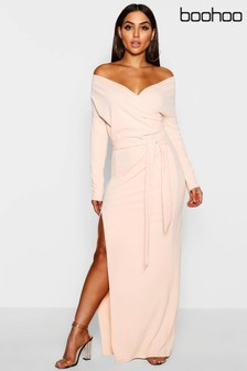 Boohoo Bardot Split Maxi Dress