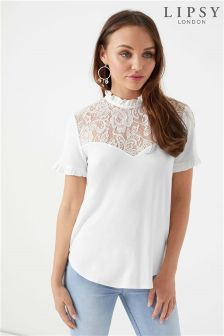 Lipsy Lace Insert Short Sleeve Top
