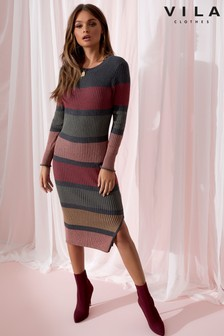 Vila Long Sleeve Knit Dress